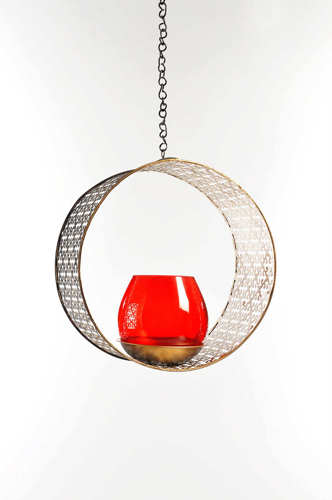 Iron Circular Hanging Tealight Holder - Large