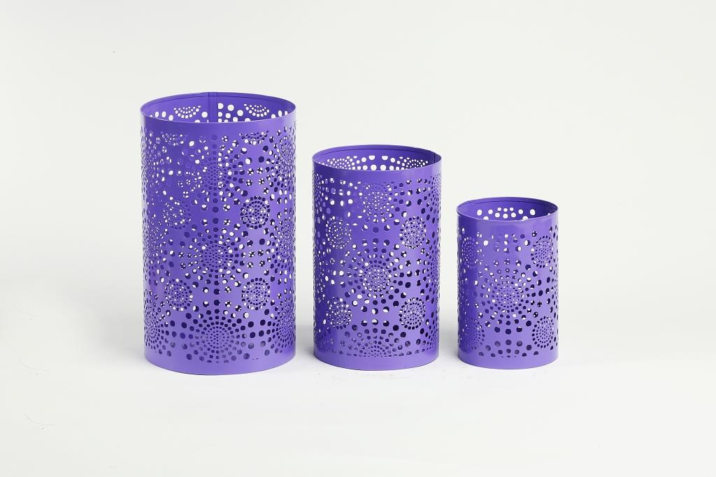 Three Piece T- Light Holder Set With Pin Holes - Purple