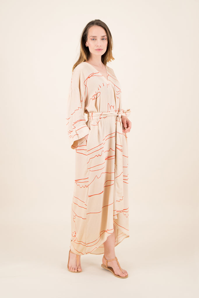 HIRUSHI cream Kaftan / Art edition