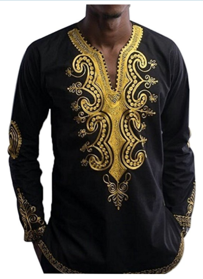Adeyemi Men's Long Sleeve African Printed Button Down Shirt Tops