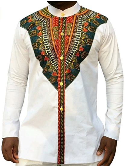 Akachi Men's Long Sleeve African Printed Button Down Shirt Tops