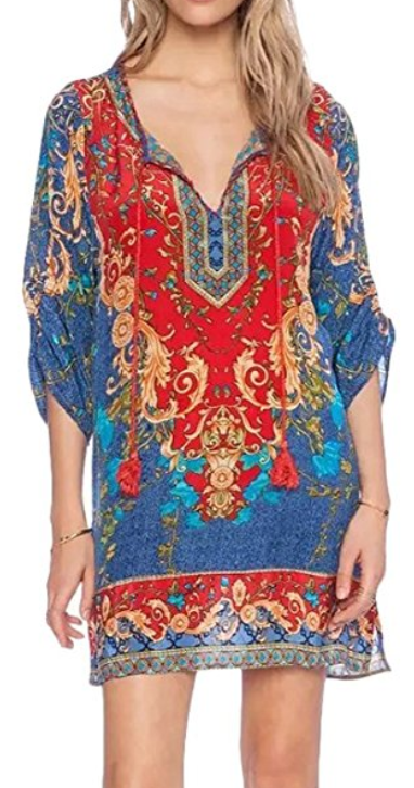 Akila Women Boho Neck Tie Vintage Mini Dress