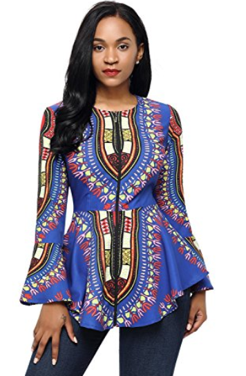HOTAPEI Women African Printed Slim Fit Long Sleeve Shirt Blouse Top
