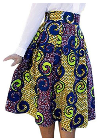 Chrissy African Print High Waist A-Line Pleated Midi Skirt