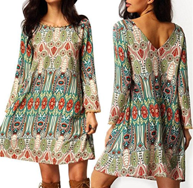 Nikki Women's Bohemian Scoop Neck Tribal Print Shift Mini Dress