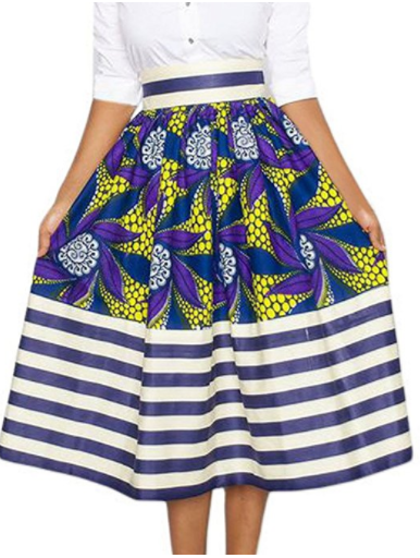 Kerry African Print High Waist A-Line Pleated Midi Skirt