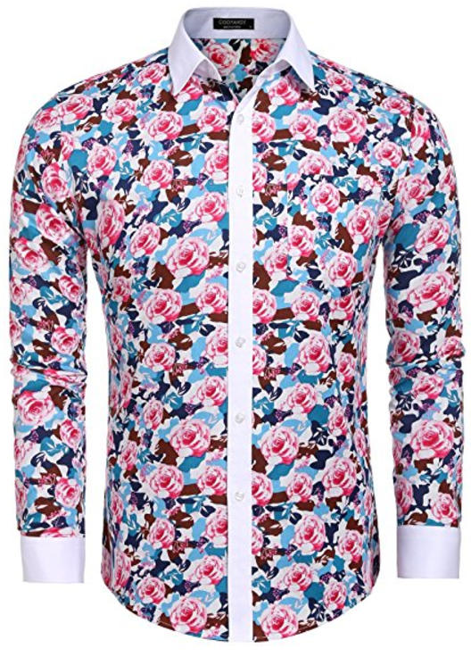 Men Long Sleeve Floral Shirt Casual Slim Fit Button Down Shirts