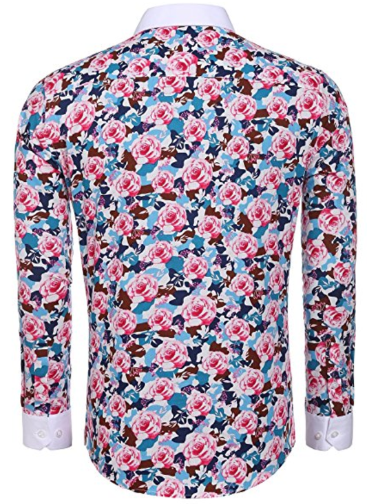 Men's Floral Cotton Fashion Slim Fit Long Sleeve Casual Button Down Print Shirt