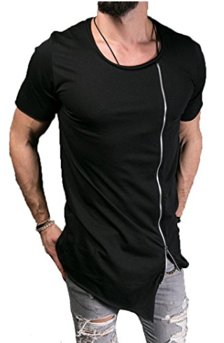 Men's Long Extended Irregular Zipper Asymmetrical TShirt