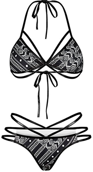 Natalia Tribal High Waist Cheeky Bikini Black and White