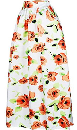 Rose Print High Waist A-Line Pleated Midi Skirt