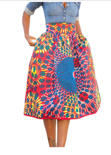 Shalene African Print High Waist A-Line Pleated Midi Skirt