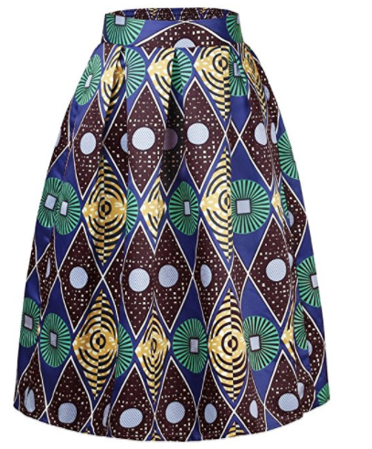 Traci African Print High Waist A-Line Pleated Midi Skirt