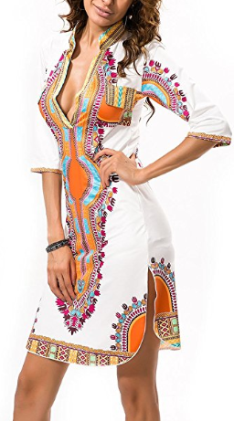 Women's Dashiki V-Neck Tunic Dress