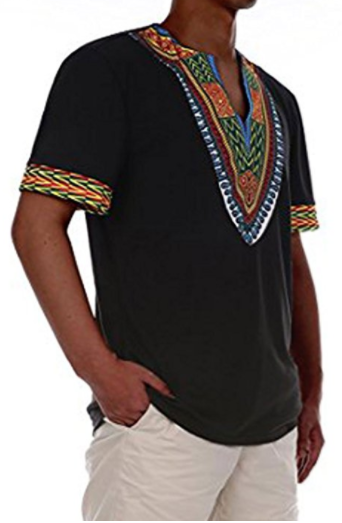 Khari Men's African Print Dashiki T-Shirt Top