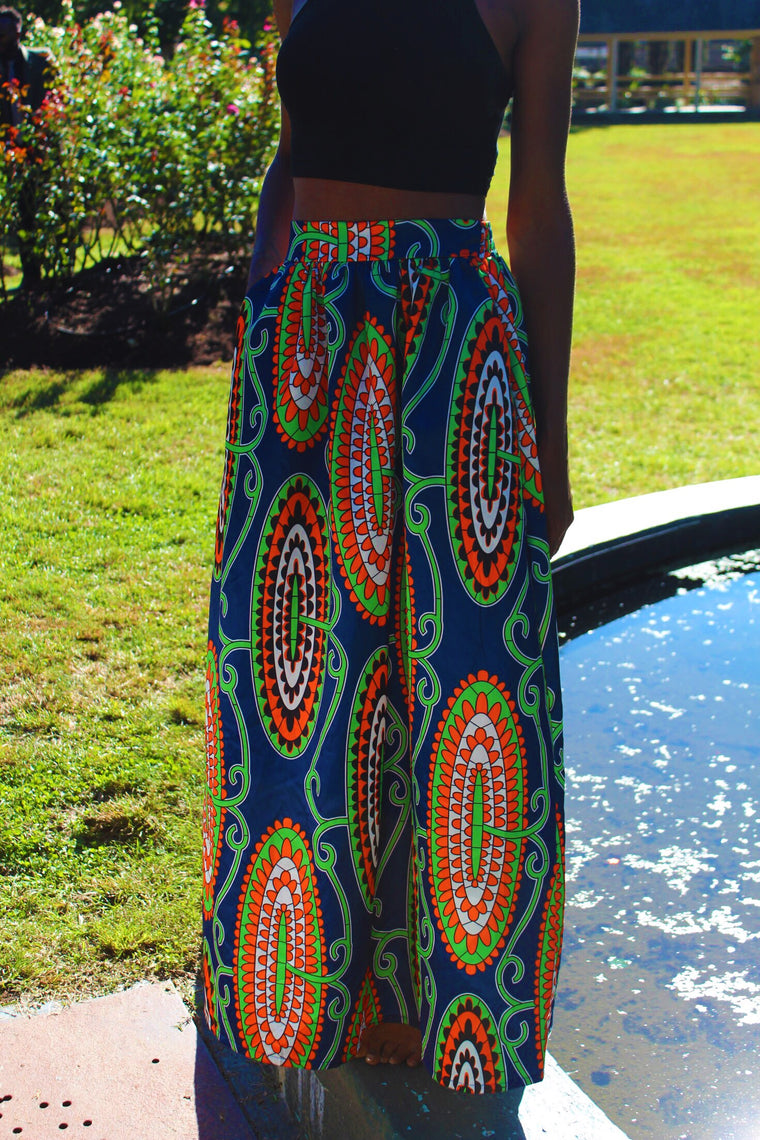 Loren African Print High Waist A-Line Pleated Midi Skirt