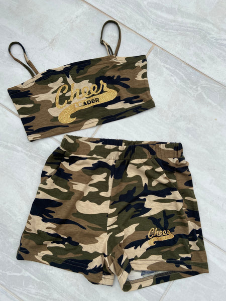 Camo shorts and crop top set