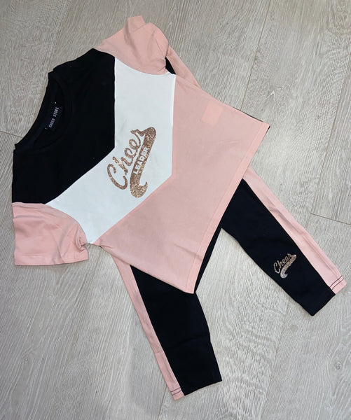 Pink and Black legging and t shirt set -cheerleader
