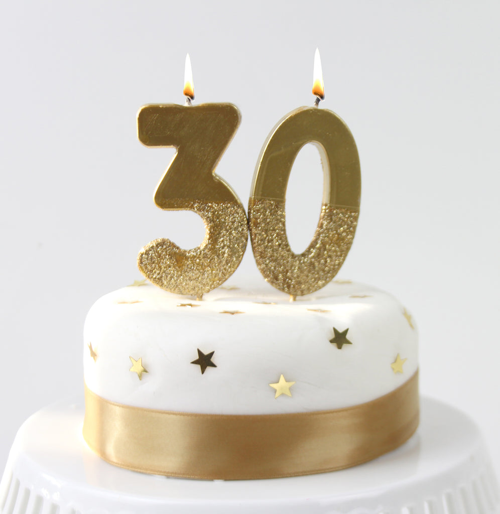 We Heart Birthdays Gold Glitter Number Candle 3