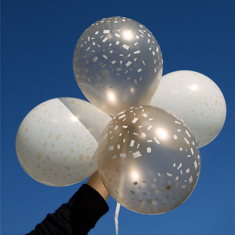 White and Gold Confetti Balloons (Pack of 5) - Talking Tables