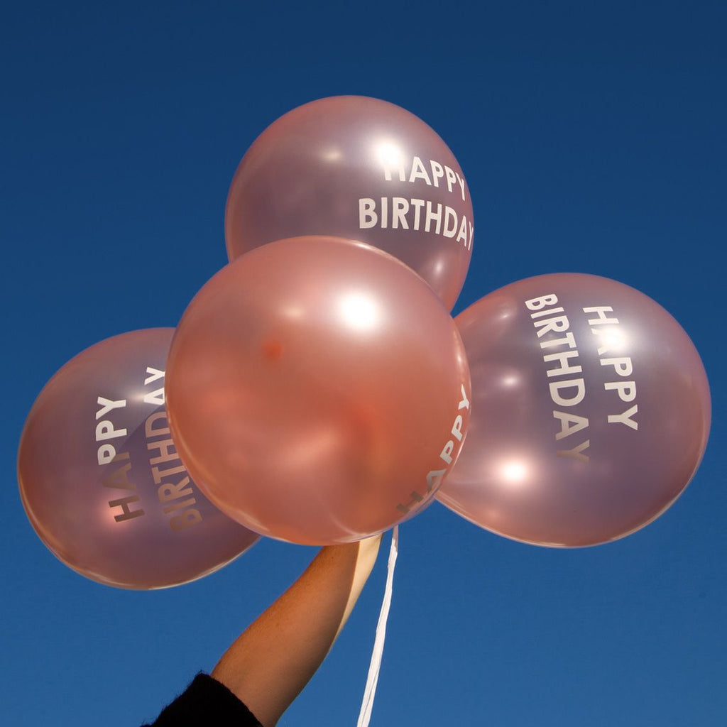 Rose Gold Happy Birthday Balloons (Pack of 5) - Talking Tables