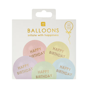 Happy Birthday Pastel Balloons (Pack of 5) - Talking Tables