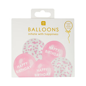 Pink Happy Birthday Confetti Balloons