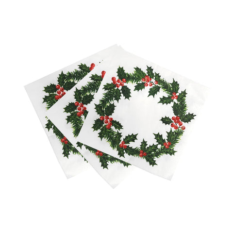 Botanical Holly Holly Wreath Print Napkin, 40 cm, 20 pk, Home Compostable