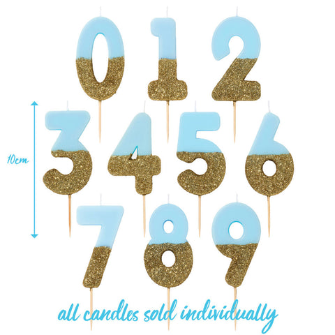 Blue and Gold Glitter Number Birthday Candles Starter Set - Numbers 0-9