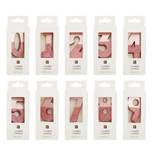Rose Gold Glitter Number Birthday Candles Starter Set - Numbers 0-9