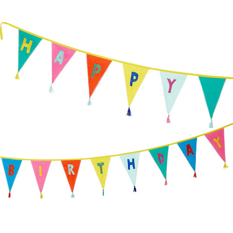 We Heart Birthdays Rainbow Happy Birthday Fabric Bunting, 3m