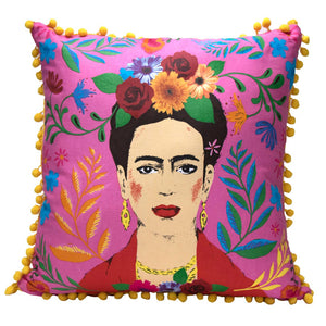 Boho Pink Tassel Frida Kahlo Cushion