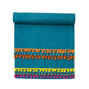 Blue Boho Table Runner with Colourful Pom Poms