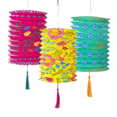 Boho Paper Lanterns Decoration (Set of 3)