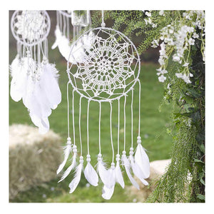 White Boho Dream Catcher with Feathers