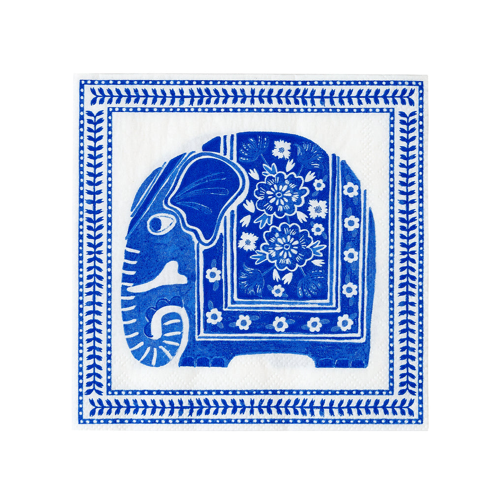 White and Blue Elephant Cocktail Napkins (Pack of 20)