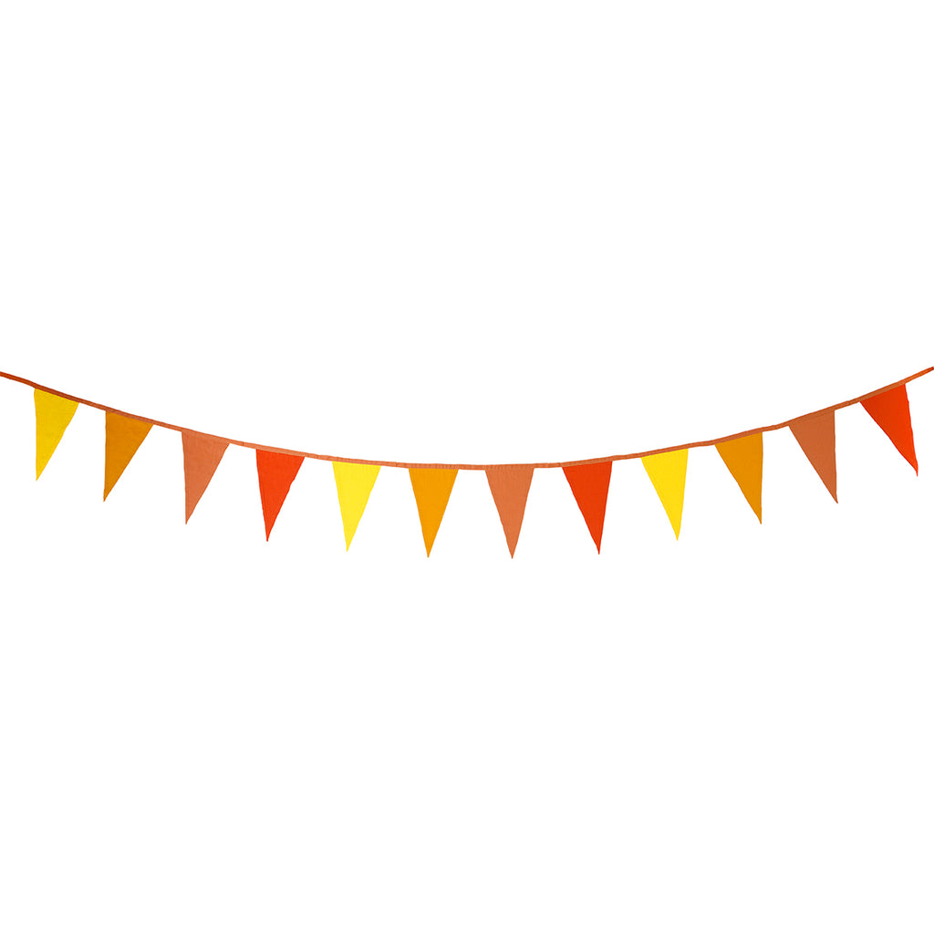Reusable Orange and Yellow Fabric Bunting