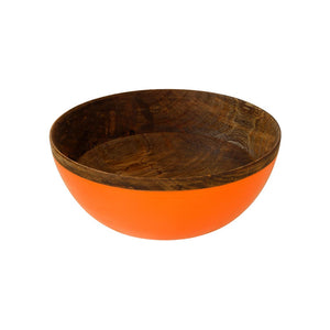 Orange coloured Mango Wood Bowl