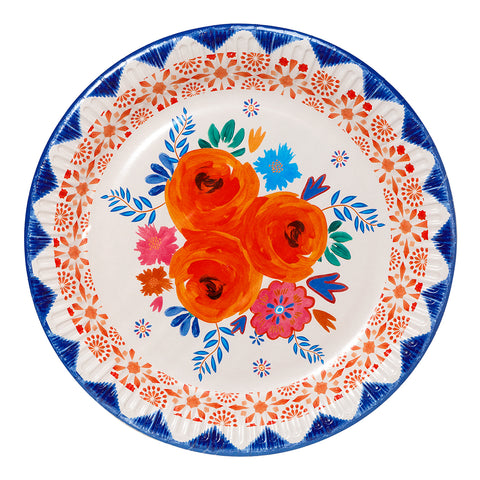 Blue and Orange Floral Boho Party Plates (Pack of 12)