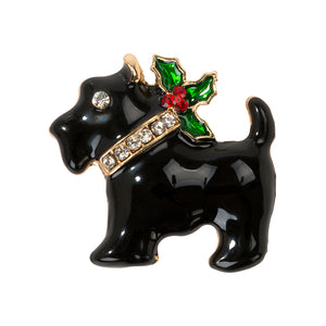 Christmas Entertainment Scottie Dog Enamel Badge