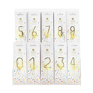 Luxe Gold Number Sparklers Starter Set with VM Acrylic Stand - Numbers 0-9