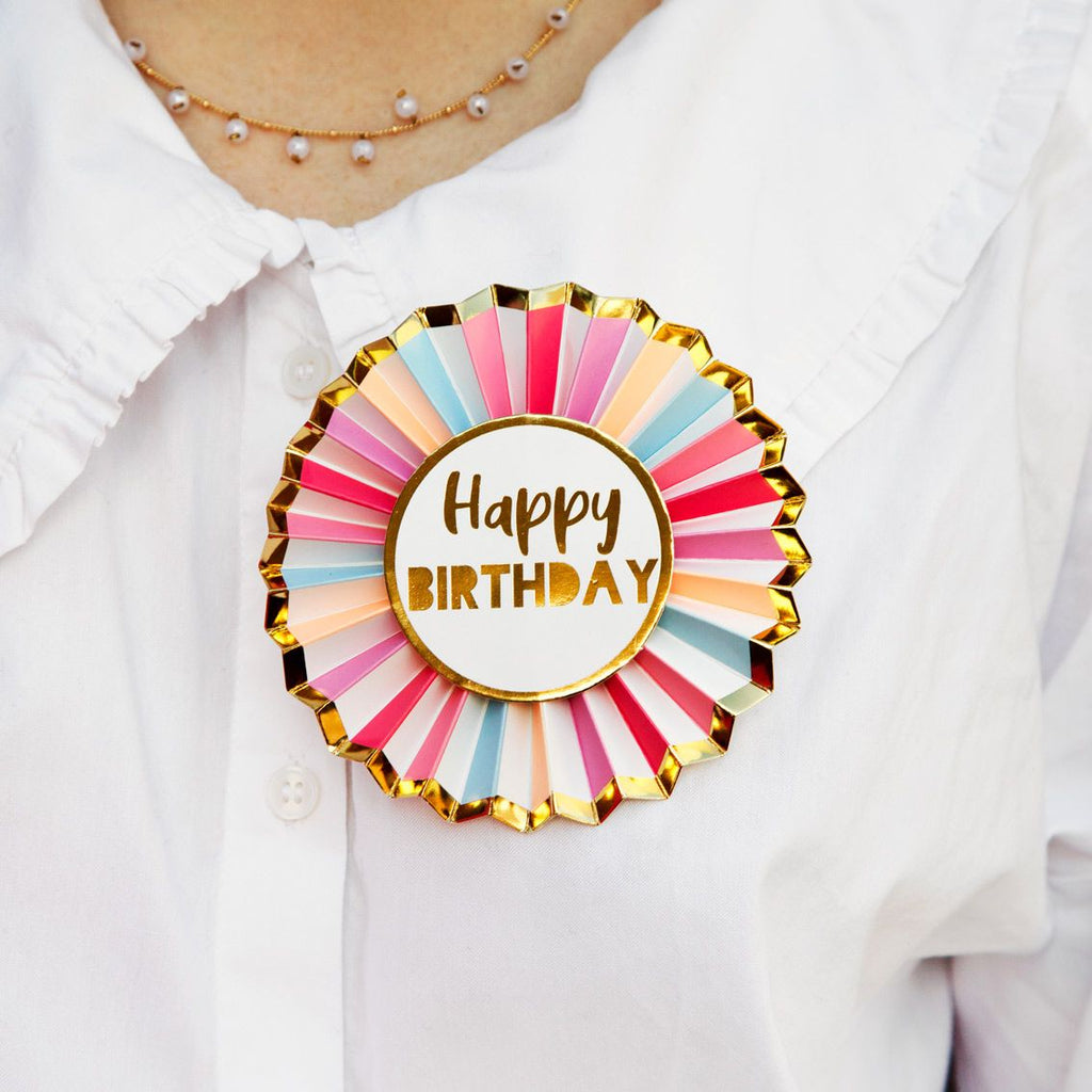 Rose Gold Happy Birthday Badge - Talking Tables