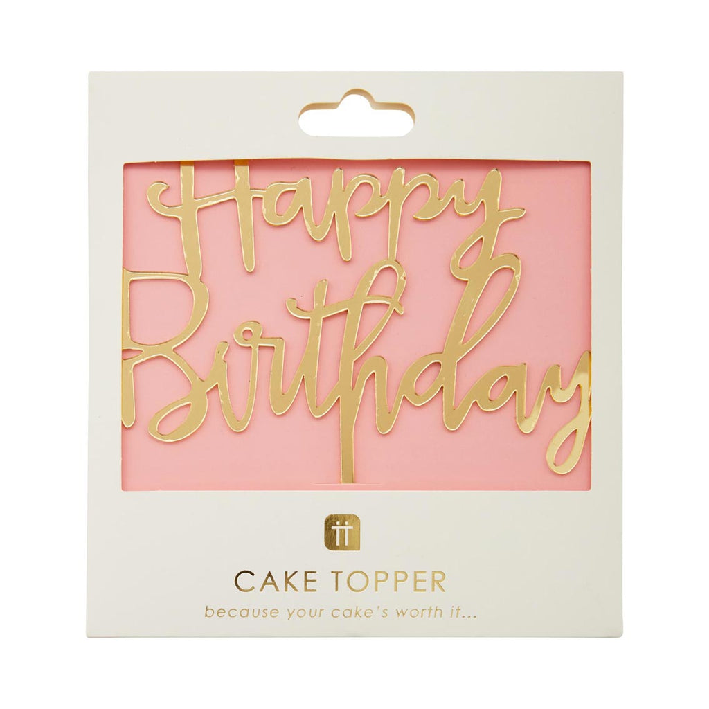 Rose Gold Happy Birthday Cake Topper - Talking Tables
