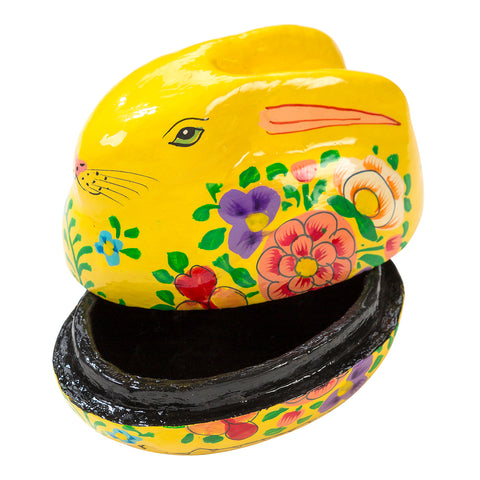 Truly Bunny Hand Painted Rabbit Gift Box, Yellow