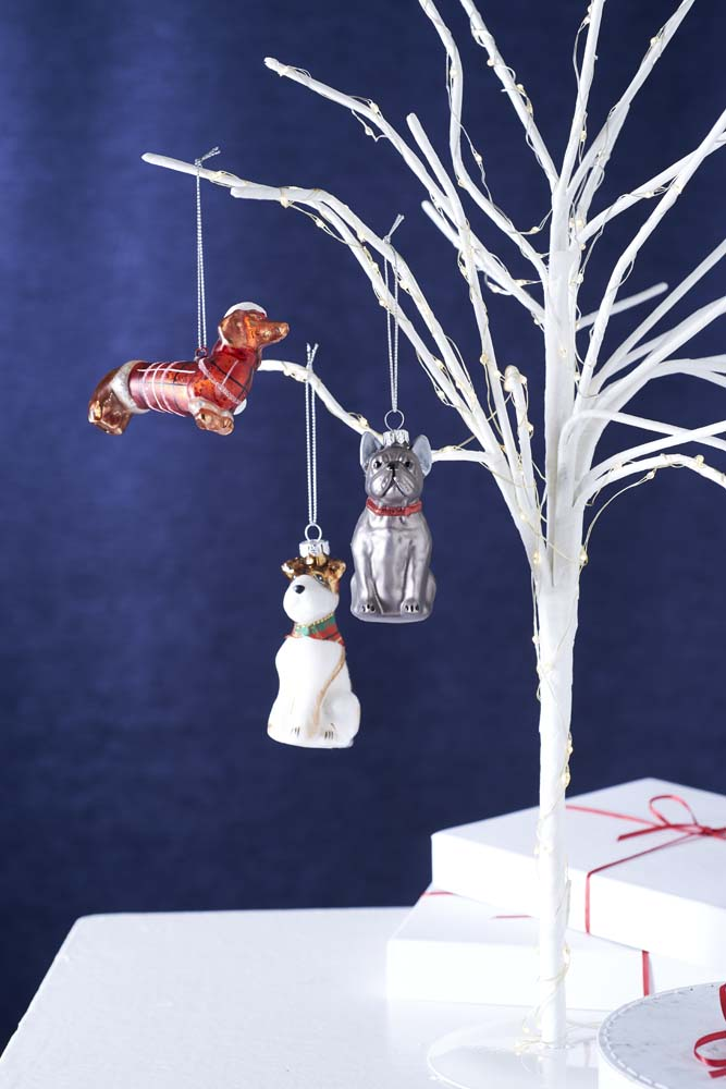 French Bull Dog Glass Tree Decoration