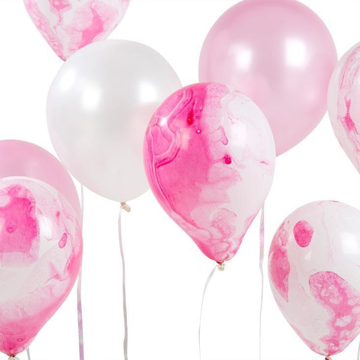 We ♥ Pink Marble Effect Balloons