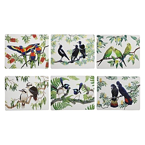MW Birdsong Placemat set of 6 34x26.5cm assorted Gift Boxed