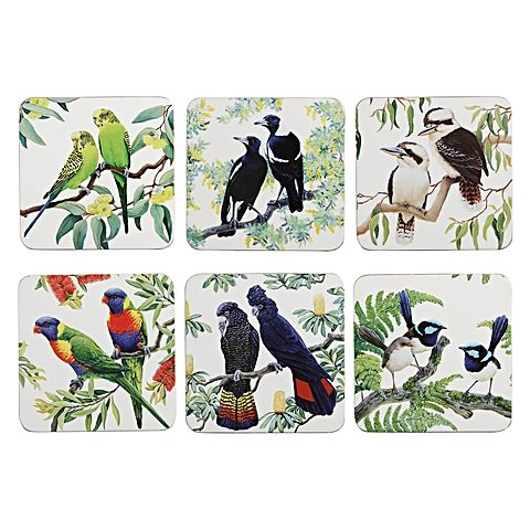 MW Birdsong Coaster set of 6 10.5cm assorted Gift Boxed