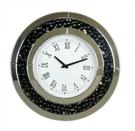 50cm Round Dark Mirror/ Crystal Clock