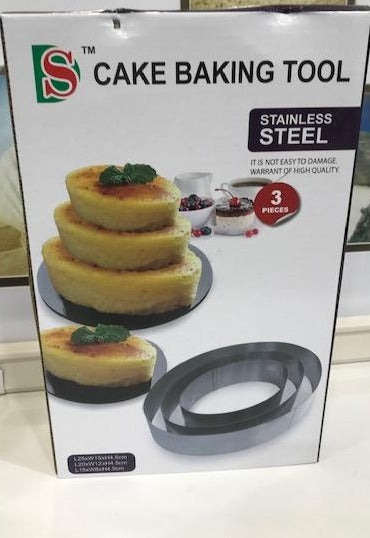 STAINLESS STEEL OVAL SHAPE CAKE MOULD 3/S